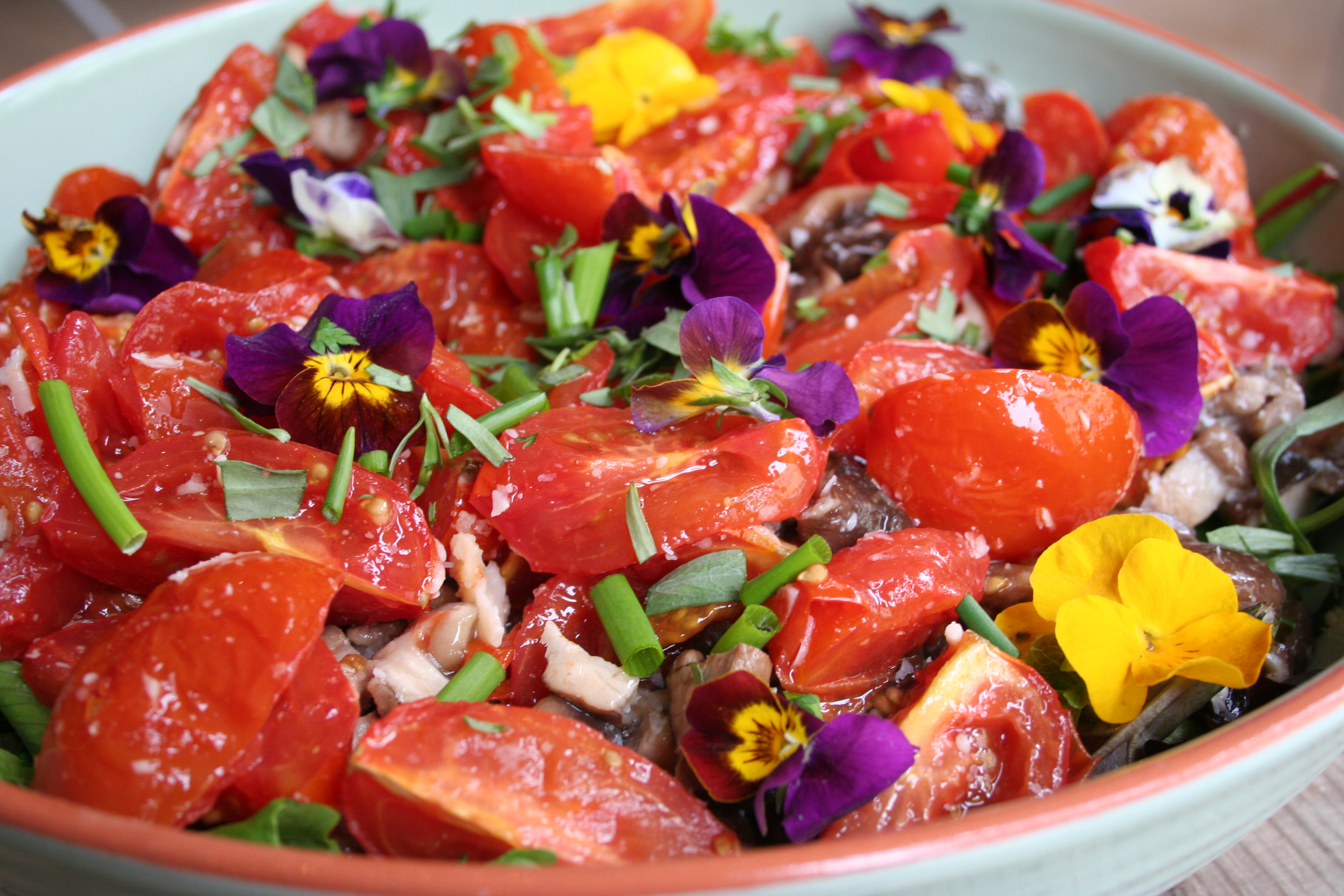 Salade met paddenstoelen